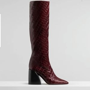 Chloe Wave Croc-Embossed Block Boots